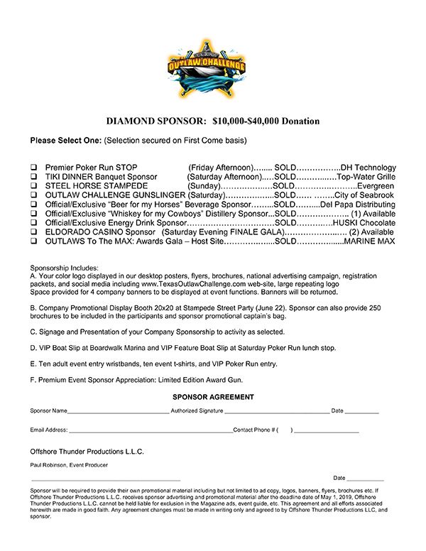 Texas Outlaw Challenge Diamond Sponsorship PDF