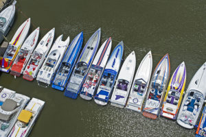 Boats lined up for poker run